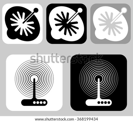Satellite dish and receiver. Reception - TV and radio transmission apparatus space-related equipment. - stock vector