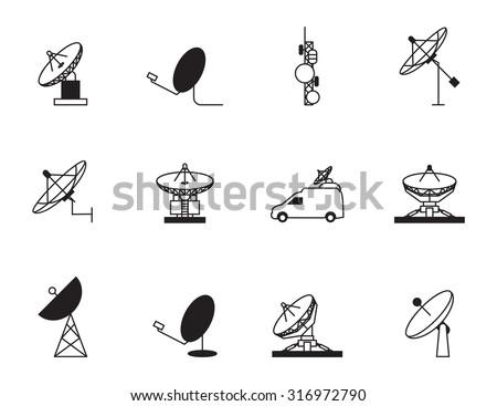 Satellite dish icon set - stock vector