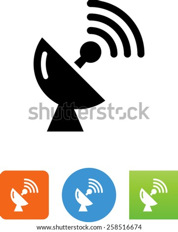Satellite dish symbol for download. Vector icons for video, mobile apps, Web sites and print projects.  - stock vector