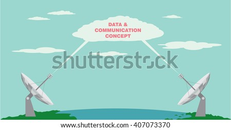Satellite dish. Transmission and receiving information signal by radio telescope. Radio communication technology concept. Vector illustration - stock vector