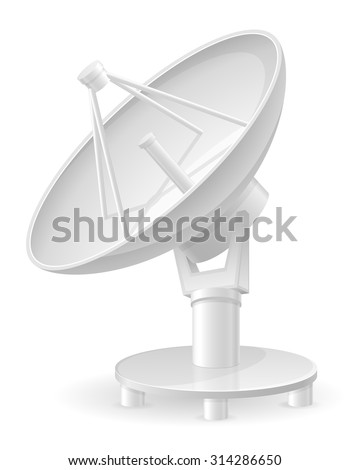 satellite dish vector illustration isolated on white background - stock vector