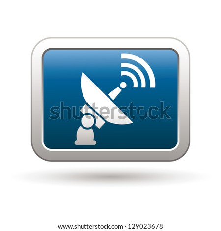 Satellite icon on the blue with silver rectangular button. Vector illustration - stock vector