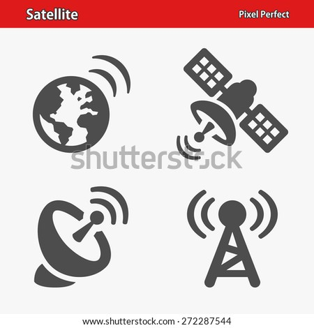 Satellite Icons. Professional, pixel perfect icons optimized for both large and small resolutions. EPS 8 format.