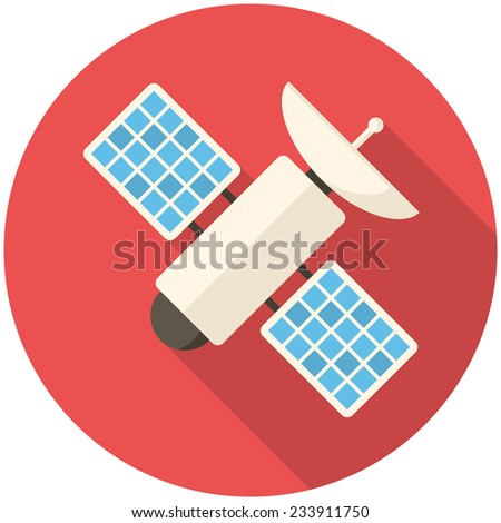 Satellite, modern flat icon with long shadow - stock vector