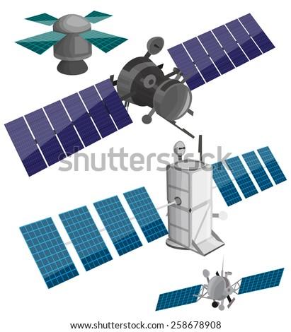 Satellite set - stock vector