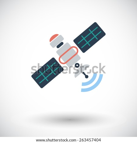 Satellite. Single flat icon on white background. Vector illustration. - stock vector