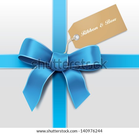 Satin blue ribbon with card - stock vector