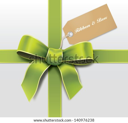 Satin green ribbon with card - stock vector