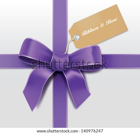 Satin purple ribbon with card