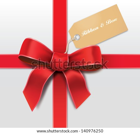 Satin red ribbon with card - stock vector