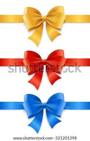 Satin Ribbon Set for Gift.. Vector illustration - stock vector