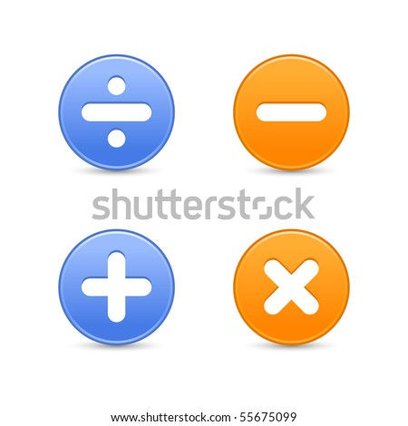 Satin round web 2.0 buttons with math symbols. Colored shapes with reflection on white background - stock vector