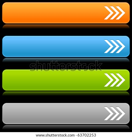 Satin smooth color web 2.0 buttons with arrow sign and reflection on black background - stock vector