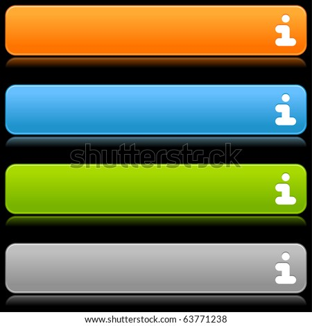 Satin smooth colored web 2.0 buttons with information symbol and reflection on black background - stock vector