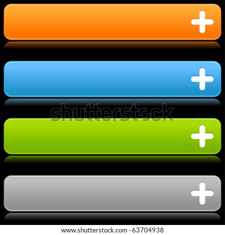 Satin smooth colorful web 2.0 buttons with plus sign and reflection on black background - stock vector