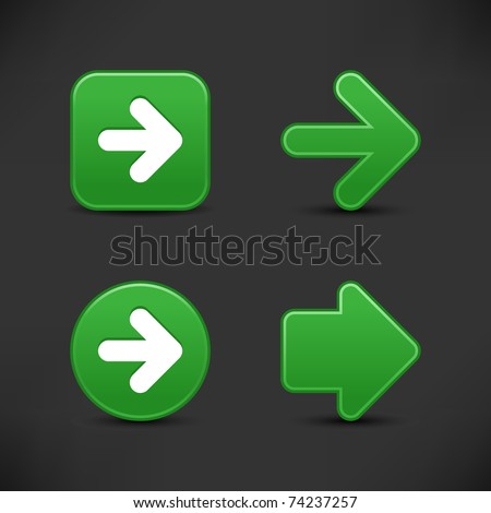 Satin smooth green arrow sign web 2.0 buttons with black shadow on gray background