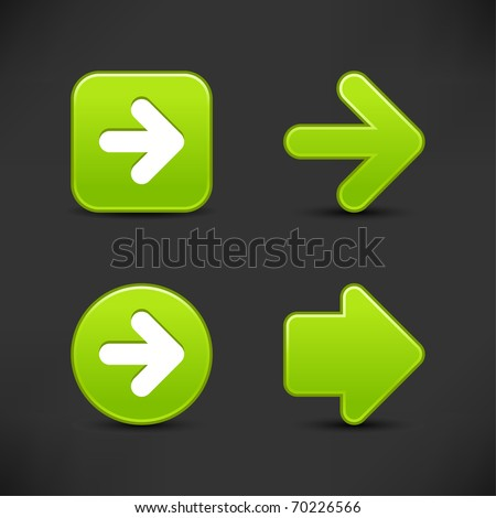 Satin smooth green arrow sign web 2.0 buttons with shadow on gray background - stock vector