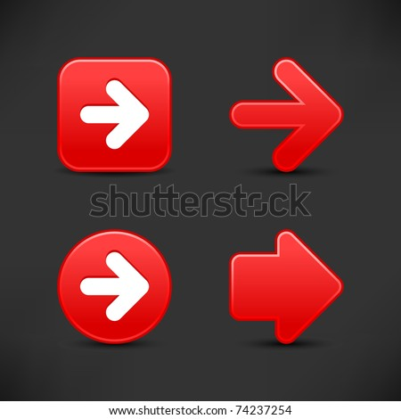 Satin smooth red arrow sign web 2.0 buttons with black shadow on gray background
