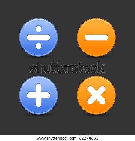 Satin smooth round web 2.0 buttons with math symbols and shadow on gray background