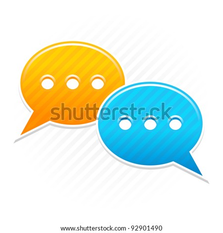 Satin smooth sticker chat room icon. Yellow and blue color web button. Strip speech bubbles shape with shadow on white background. This vector illustration saved in 10 eps - stock vector