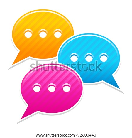 Satin sticker chat room icon. Yellow, blue and pink colored web button. Striped speech bubbles shape with shadow on white background. This vector illustration saved in 10 eps - stock vector