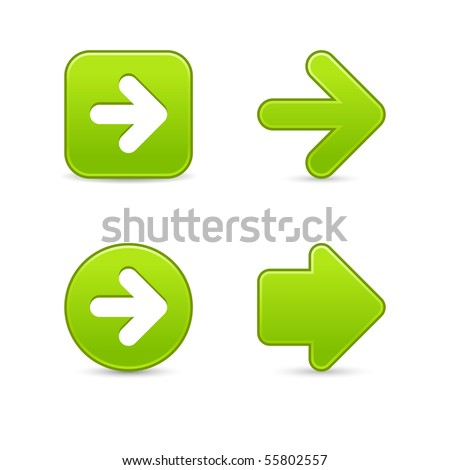 Satined green arrow sign web 2.0 buttons with shadow on white background