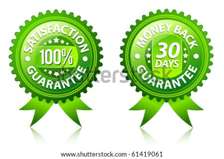 Satisfaction and money back guarantee green labels - stock vector