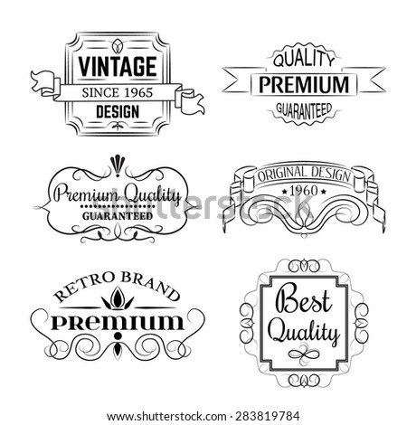 Satisfaction Guarantee Label and Vintage Premium Quality collection. Vector version - stock vector