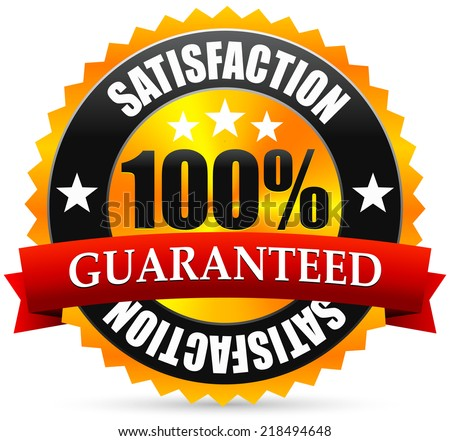 Satisfaction guarantee seal, stamp or badge, with red ribbon, banner - stock vector