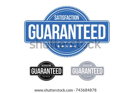 Satisfaction Guaranteed Badge Symbol Blue