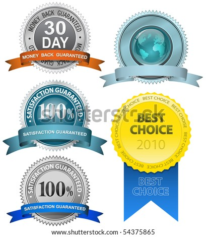 Satisfaction Guaranteed Sign Set - stock vector