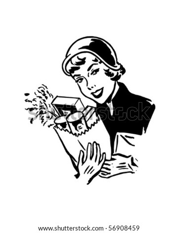 Satisfied Shopper - Retro Clip Art - stock vector