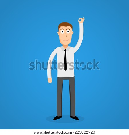 Satisfy business man and OK sign. Vector - stock vector