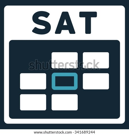Saturday vector icon. Style is bicolor flat symbol, blue and white colors, rounded angles, dark blue background. - stock vector