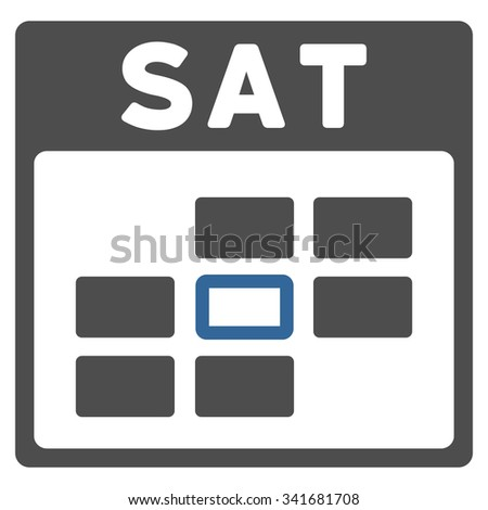 Saturday vector icon. Style is bicolor flat symbol, cobalt and gray colors, rounded angles, white background. - stock vector