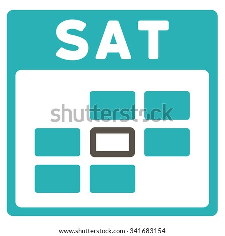 Saturday vector icon. Style is bicolor flat symbol, grey and cyan colors, rounded angles, white background. - stock vector