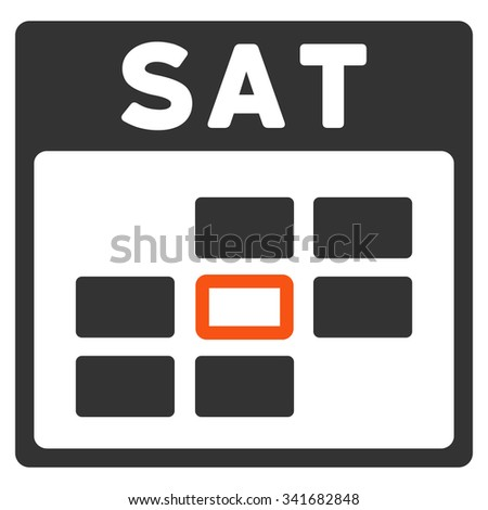 Saturday vector icon. Style is bicolor flat symbol, orange and gray colors, rounded angles, white background. - stock vector