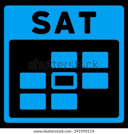 Saturday vector icon. Style is flat symbol, blue color, rounded angles, black background. - stock vector