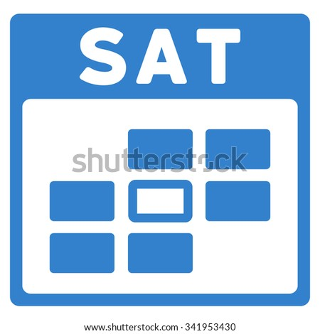 Saturday vector icon. Style is flat symbol, cobalt color, rounded angles, white background. - stock vector