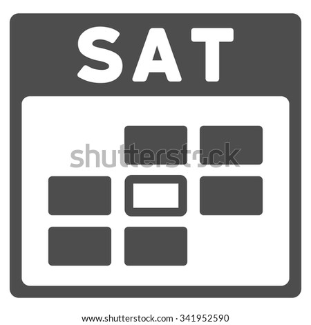 Saturday vector icon. Style is flat symbol, gray color, rounded angles, white background. - stock vector