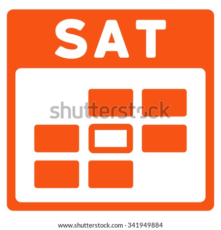 Saturday vector icon. Style is flat symbol, orange color, rounded angles, white background. - stock vector