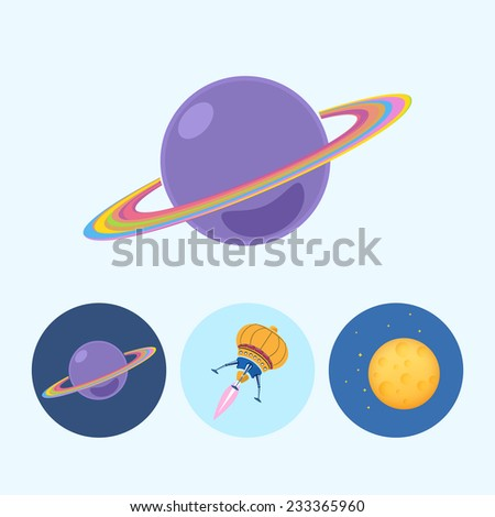 Saturn planet.  Set from 3 round colorful icons, saturn, planet icon, icon spaceship, UFO, moon with stars,  vector illustration - stock vector