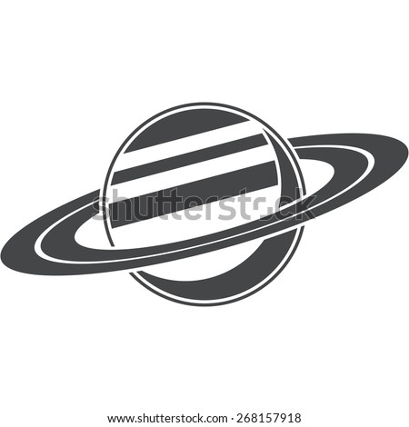 Saturn, silhouette, vector illustration, isolated on white background - stock vector