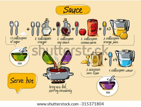 sauce, step-by-step cooking, drawing hands, cook at home - stock vector