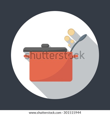 Saucepan with lid open.  Foods Service round icon with long shadow. Simple flat vector illustration, EPS 10. - stock vector