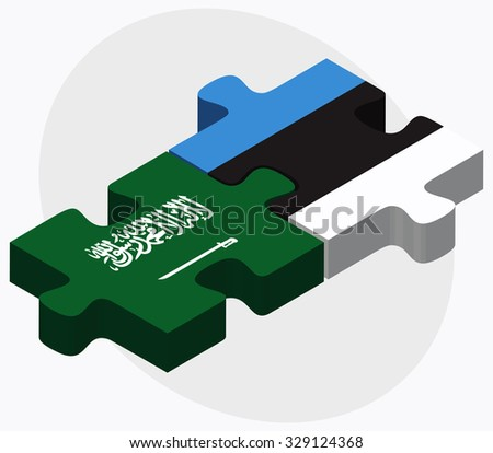 Saudi Arabia and Estonia Flags in puzzle isolated on white background - stock vector