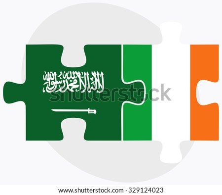 Saudi Arabia and Ireland Flags in puzzle isolated on white background
