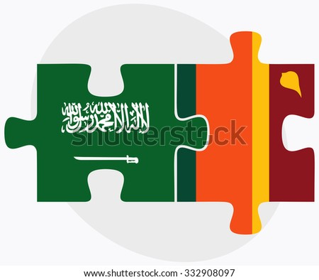 Saudi Arabia and Sri Lanka Flags in puzzle isolated on white background