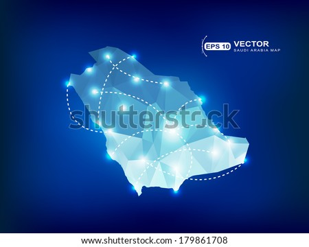 Saudi Arabia country map polygonal with spot lights places - stock vector