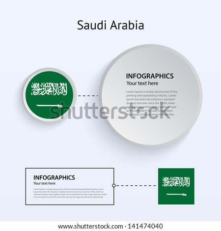 Saudi Arabia Country Set of Banners on gray background for Infographic and Presentation. Vector illustration. - stock vector